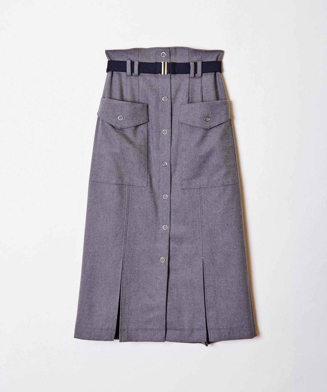 配色ベルトアウトポケットタイトスカート