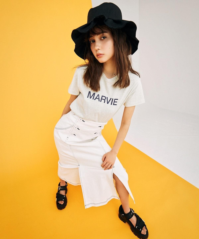 デニムダブルボタンデザインタイトスカート
