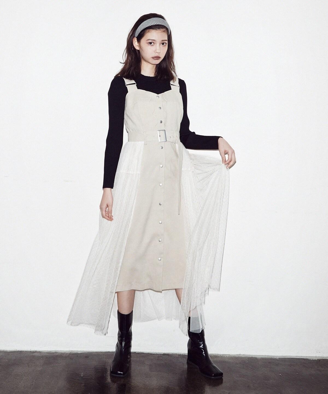 スカラップデザインドットチュールジャンパースカート