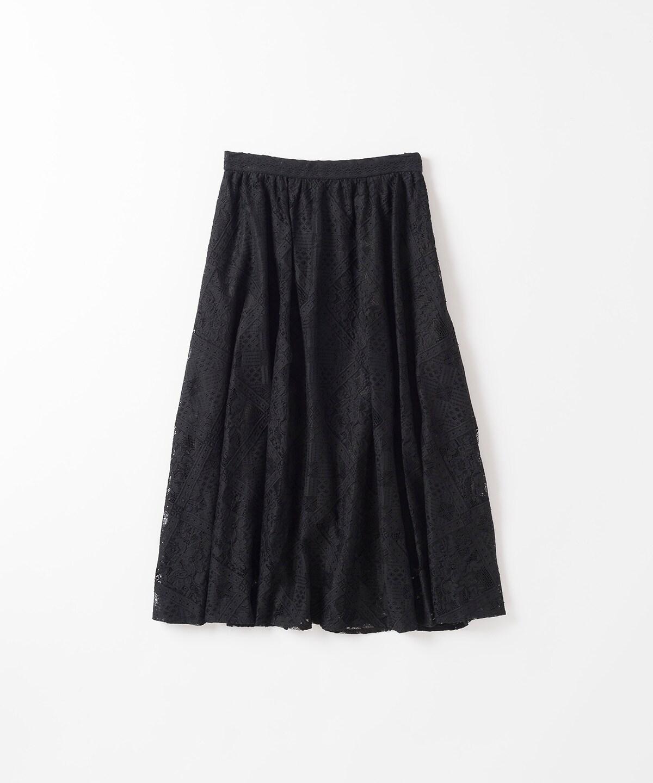 ダイヤ柄ラッセルレーススカート
