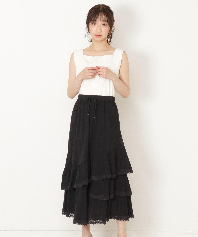 ボイル楊柳ティアードスカート