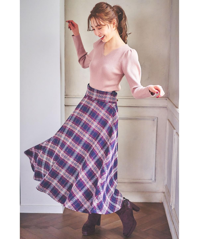 さしこチェックフレアスカート