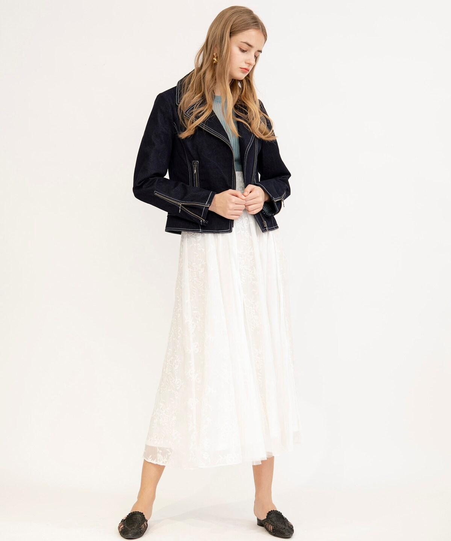 刺繍レース×チュールロングスカート