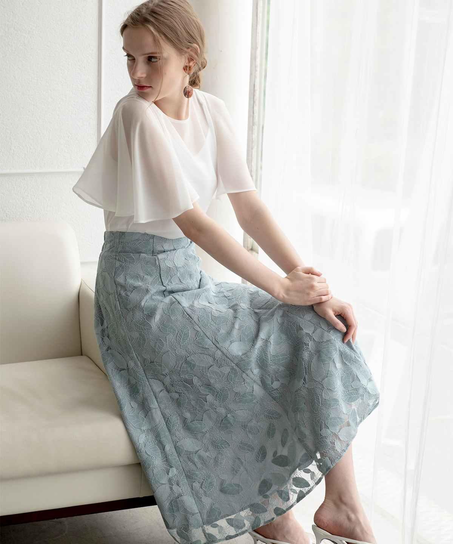 リーフレースセミマーメイドスカート