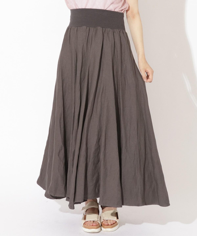 ウエストリブ麻レーヨンロングスカート