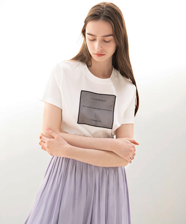 シアーロゴプリントTシャツ