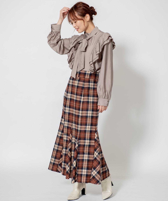 ウールチェックマーメイドスカート