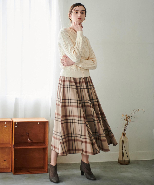ウエストリブネルチェックロングスカート