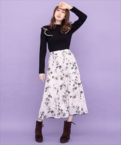 単色フラワージョーゼットスカート