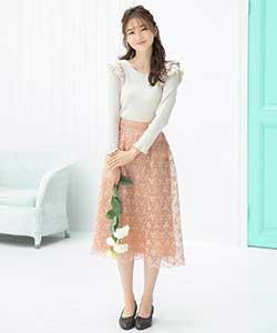 オーガンジーフラワー刺繍スカート