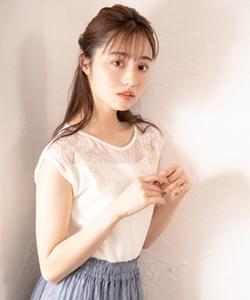 シアー楊柳×刺繍ニット