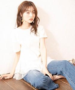 【異素材MIXチュニックTシャツ】
